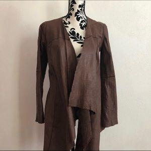illia Draped Leather Jacket, Sz M, Brown